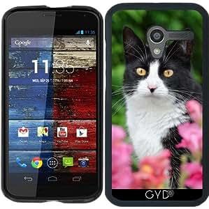 Funda para Motorola Moto X (Generation 1) - Negro Gato Blanco Flores De Color Rosa by Katho Menden