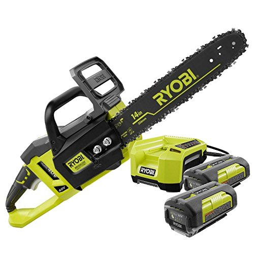 Ryobi RY40511 14 in. 40-Volt Lithium-ion Cordless Electric Chainsaw Kit (2 40-Volt Batteries and 1 Charger) ZRRY40511 (Certified (Electric Chainsaw Ryobi)
