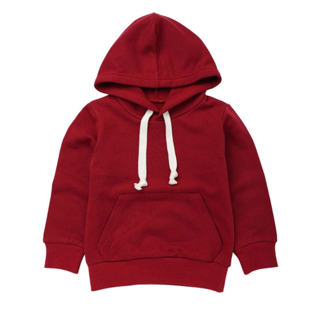 ModnToga Baby Sweatshirt 1-6 Years Old,Toddler Boy Girl Kids Autumn Winter Long Sleeve Solid Hooded Casual Tops Pullover