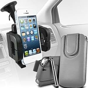 LG G2 Mini premium protección PU botón magnético ficha de extracción Slip Cord En cubierta de bolsa Pocket Skin rápida Con Retractable Stylus pen & Soporte universal de la succión del parabrisas del coche Vent Cuna Grey por Spyrox