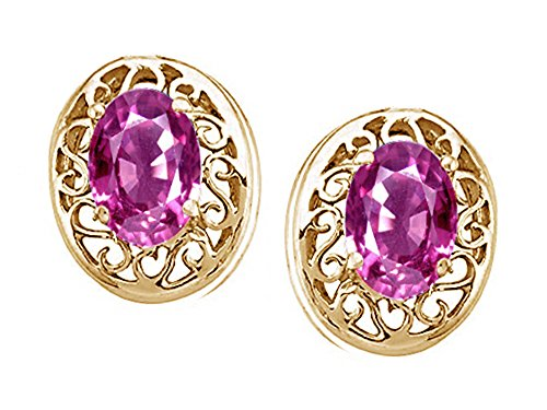 6x4mm Oval Pink Sapphire Earring - 3