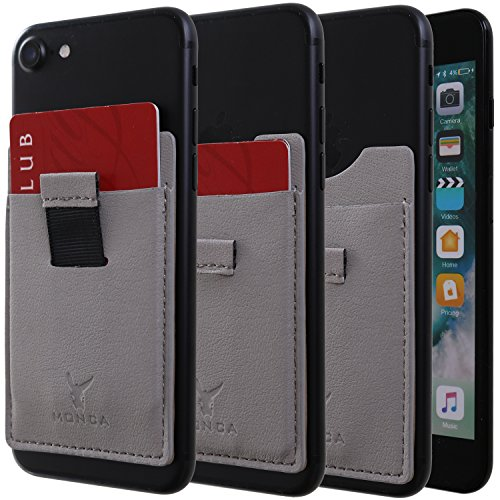 Monca Slide Up Wallet for Back of Phone Stick On Credit Card Holder for Cell Phone Pocket Leather (Dark Grey) ()