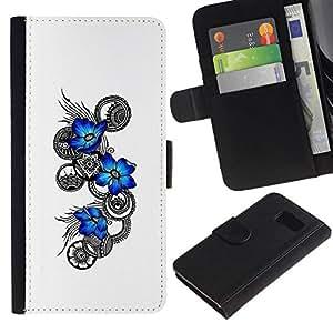 NEECELL GIFT forCITY // Billetera de cuero Caso Cubierta de protección Carcasa / Leather Wallet Case for Samsung Galaxy S6 // Flores azules Tatuaje floral