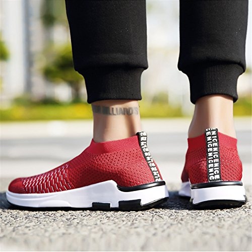 m Athletic YALOX Casual Running Women's Fashion 3 Sneakers Shoes Shoes Lightweight Red On Walking Men's Slip Breathable rPqgxrTa