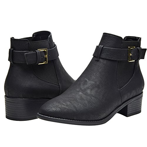 Luoika Ankle Boots For Women,PU Leather Low Chunky Block Stacked Heels Round Toe Ankle Boots For Ladies,Winter Spring Short Slip On Ankle Boots For Lady Big Girls Kids Black Size 7.5