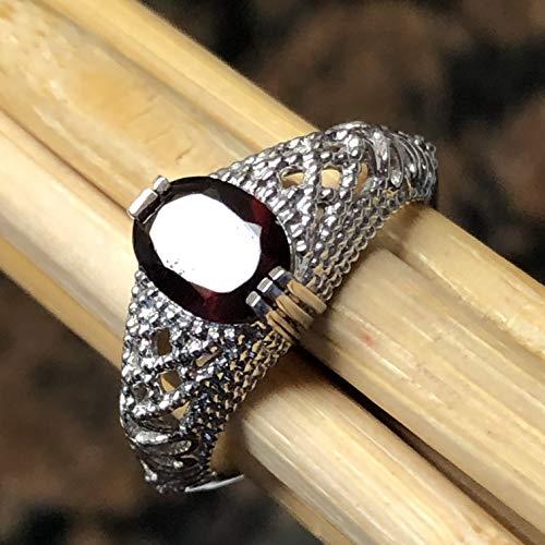 (Natural 2ct Pyrope Garnet 925 Solid Sterling Silver Filigree Engagement Ring sz 6, 7, 8, 9)