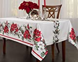 Creative Dining Group Botanical Christmas Herringbone Print Rectangle Tablecloth, 60 by 84-Inch