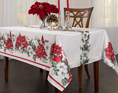 BENSON MILLS Botanical Christmas Herringbone Print Rectangle Tablecloth, 52 by 70-Inch -