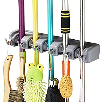 DayBuy Mop And Broom Holder Wall Closet Mounted With 5 Position And 6 Hooks  Mops Organizer
