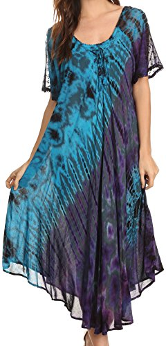 Sakkas 17682 - Ria Tie Dye Embroidered Cap Sleeve Wide Neck Caftan Dress / Beach Cover Up - Teal - OS