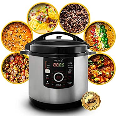 Megachef MCPR-3500 12 Quart Digital Pressure Cooker with 15 Presets, Silver