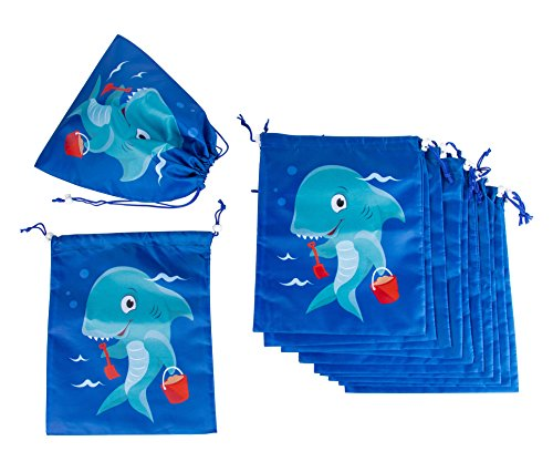Drawstring Bags - 12-Pack Party Favor Bag for Kids Birthday, Baby Shower - Giveaway Gift Bags, Goodie Bags, Treat Bags Party Supplies for Boys and Girls, Blue Shark, 10 x 12 Inches -