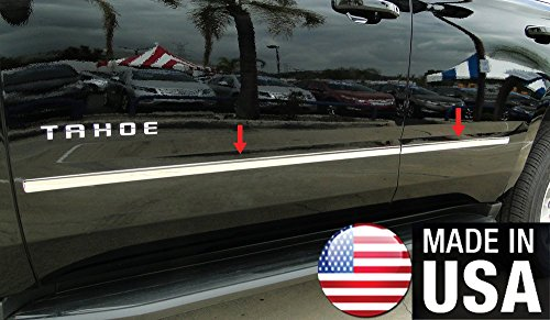 Made in USA! Works with 2015-2018 Chevy Tahoe GMC Yukon Body Side Molding Trim 4PC Overlay