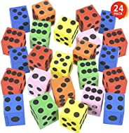 ArtCreativity Colored Foam Dice Set - Pack of 24 - 1.5 Inches Big - Colorful Dice Set - Six Assorted Colors -
