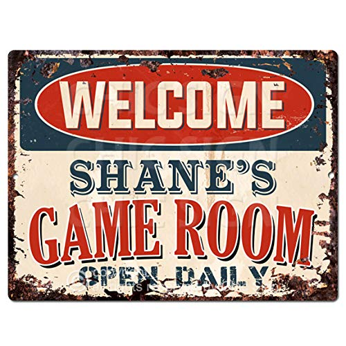 Welcome Shane'S Game Room Open Daily Tin Chic Sign Vintage Retro Rustic 9