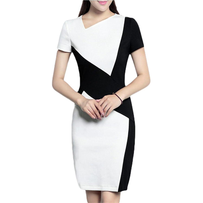 Pendler elegantes Kleid schwarzes und weißes Nähkleid professionelles Paket Hüftkleid - schwarz und weiß 3xl black and white short sleeved