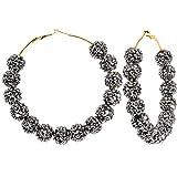 3 Inch Starry Night Black Sparkle Ball Hoop Earrings