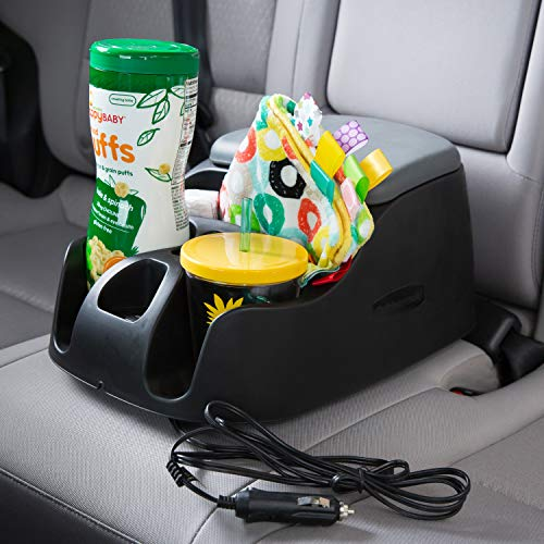 Truck Floor Console - Rubbermaid 3375-00 Automotive Portable Console Organizer Caddy with Dual USB Charging Ports and Cup Holders