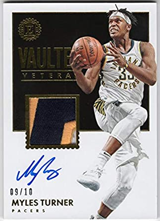 d4bbe5983451 Myles Turner 2017-18 Panini Encased Vaulted Veterans On Card Auto 3 Color  Jersey Patch