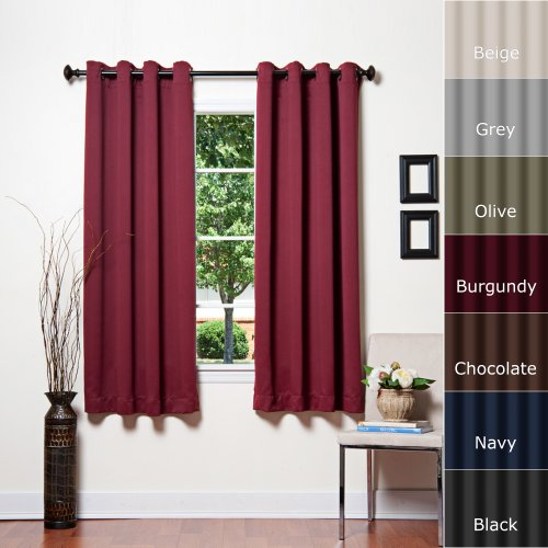 Best Home Fashion Basic Thermal Insulated Blackout Curtains - Antique (Light Blue Gold Rim)