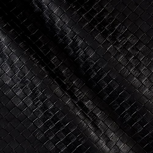 Faux Leather Tile Basketweave Black Fabric By The Yard