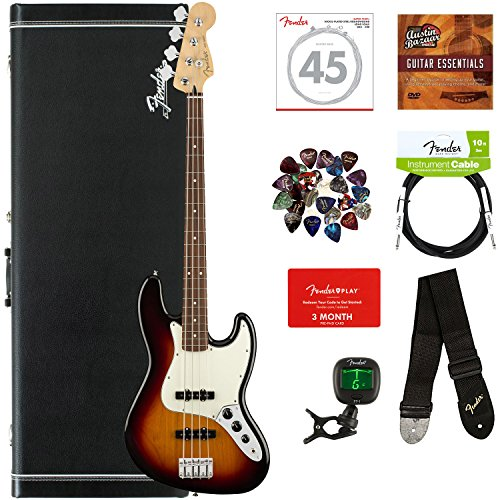Fender Player Jazz Bass, Pau Ferro - 3-Color Sunburst Bundle with Hard Case, Cable, Tuner, Strap, Strings, Picks, Fender Play Online Lessons, and Austin Bazaar Instructional DVD