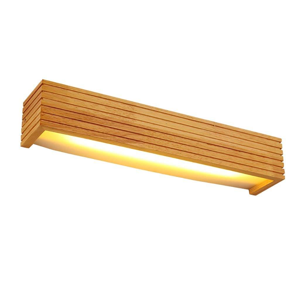 Wandleuchte LED-Wandleuchten, Massivholz Make-up-Spiegel Scheinwerfer Gang Leuchten Schlafzimmer Nachttischlampen, Warmweißes Licht (Größe  45  8  8 cm)