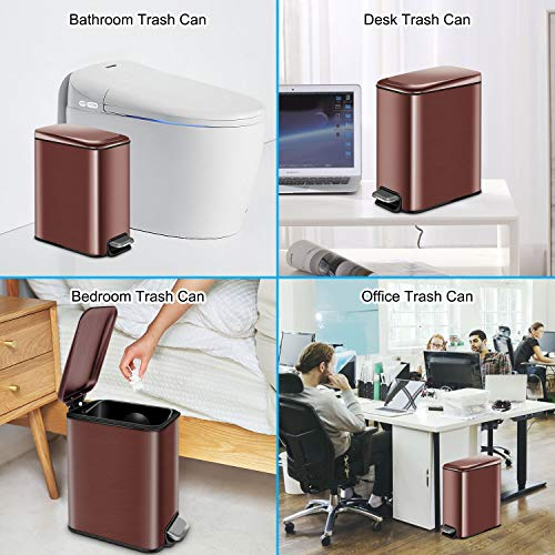 YCTEC Rectangular Small Trash Can with Lid Soft Close, Bathroom Trash Can with Removable Inner Wastebasket, Anti-Fingerprint Stainless Steel Finish, 5L/1.3Gal, Rose Gold