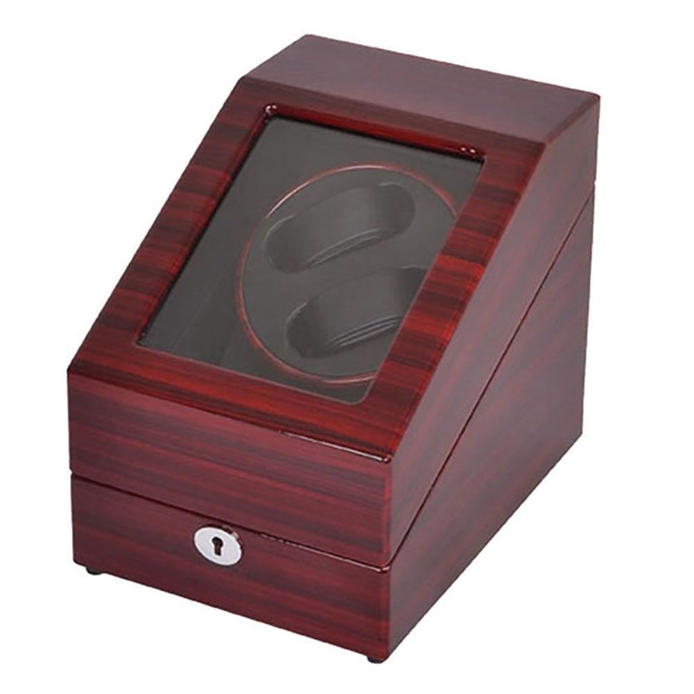 KAIHE-BOX Bois Watch winder Remontoir silencieux pour 2+3 montre automatique avec rotation droite & gauche moteur ultrasilencieux,WB06 , red