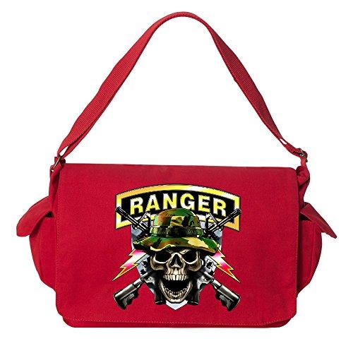 Red Skull Messenger Bag (Tenacitee Army Ranger Skull Red Brushed Canvas Messenger Bag)