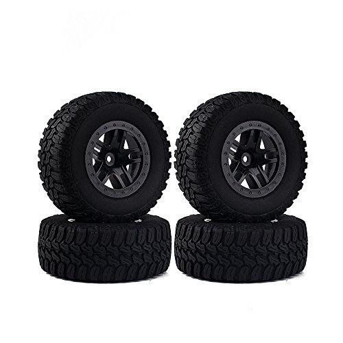 INJORA 4PCS Wheel Rim & Tires Set for 1/10 RC Short-Course Truck Traxxas Slash HPI RC Model Car