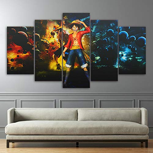 QJXX 5 Panel Prints On Canvas HD Wall Art One Piece Anime Paintings Picture Monkey D. Luffy Poster Wall Canvases Print for Home Decor,B,3050Cm2+3070Cm2+3080Cm1