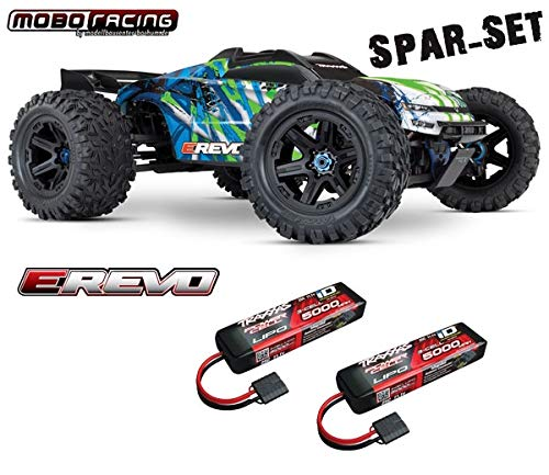 Traxxas 86086-4 E-Revo 1 10 VXL Brushless - grün + 2X 5000mAh 3S LiPo + mobo-Racing Sticker Grün
