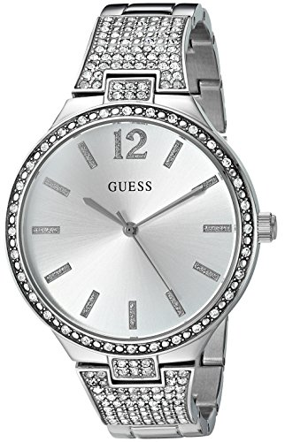 GUESS U0900L1 Silver Tone Crystal Accented Stainless