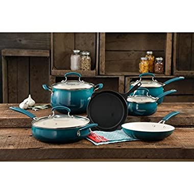 The Pioneer Woman Classic Belly 10-Piece Cookware Set, OCEAN TEAL