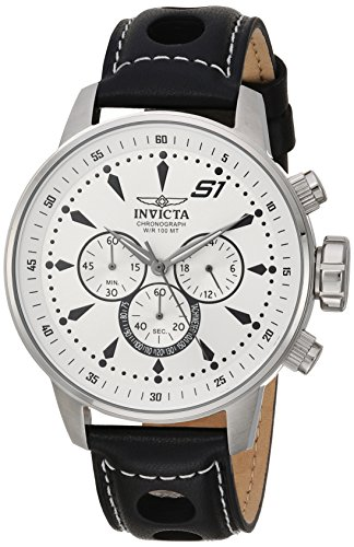 Invicta Men s S1 Rally Stainless Steel Quartz Watch with Leather-Calfskin Strap, Black, 22 Model 23599