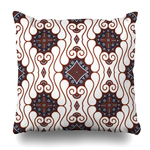 Old Indonesia Batik - Alfredon Throw Pillow Covers Indonesia Brown Batik Pattern Java Retro Abstract Culture East Old Pillowcase Square Size 20 x 20 Inches Home Decor Cushion Cases