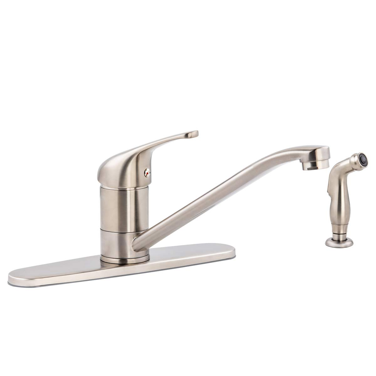 AmazonBasics Classic Kitchen Faucet Set with Sprayer, Satin Nickel