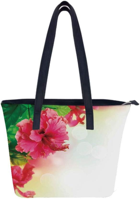 Floral Japanese Branches Women Leather Laptop Tote Office Shoulder Handbag Computer Briefcase
