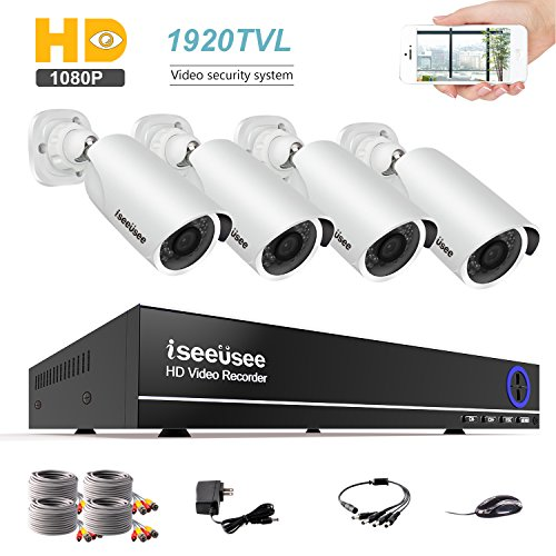 ISEEUSEE 1080N 4CH Security Camera System, AHD DVR Video Surveillance Kit with (4) HD 2.0MP 1980TVL 1080P Waterproof Bullet CCTV Cameras, 100ft Night Vision, NO Hard Drive by ISEEUSEE