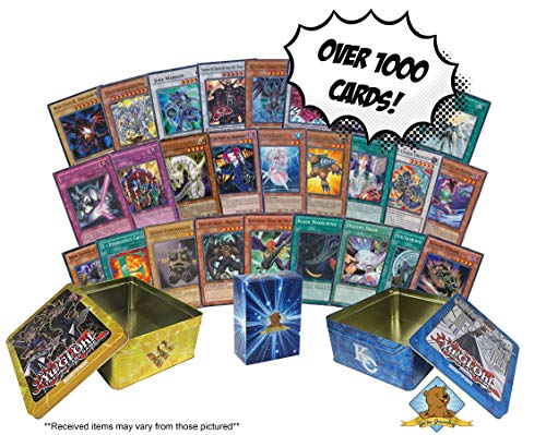 1000+ Yugioh Cards - Featuring Holos - Comes with Empty 2 Tins for Storage! Includes Golden Groundhog Deck Box! (Bundle Gi Oh Yu Card)