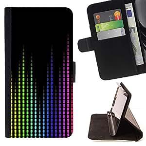 Momo Phone Case / Flip Funda de Cuero Case Cover - Waves Music Sound Tech Display colorido - Huawei Ascend P8 Lite (Not for Normal P8)