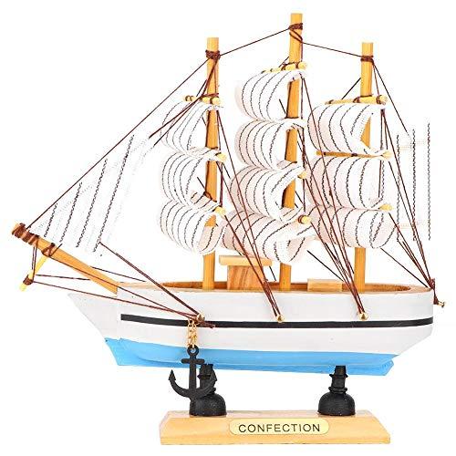 Sailing Ship Model, Wooden Handmade Craft Sailing Boat for Home Desktop Decoration(16cm)
