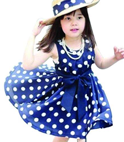 EASY Little Girls Sleeveless Bowknot A-line Princess Dress 110cm Navy Blue