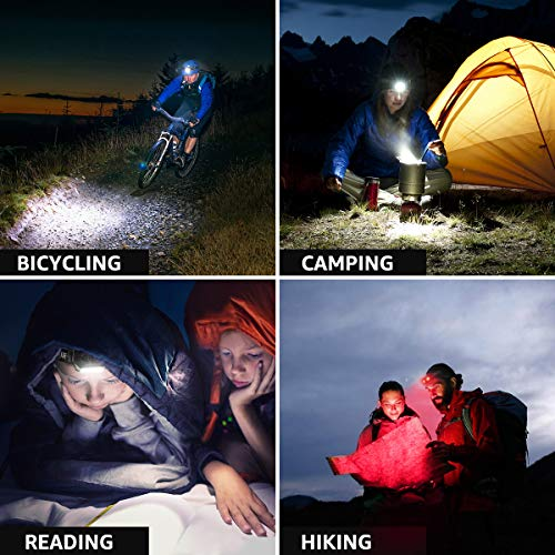 LED Headlamp Flashlights, Rechargeable Headlights with 6 Modes, Super Bright, Lightweight and Comfortable, Perfect for Adults and Kids Running, Camping, Hiking and More, Battery and USB Cable Included