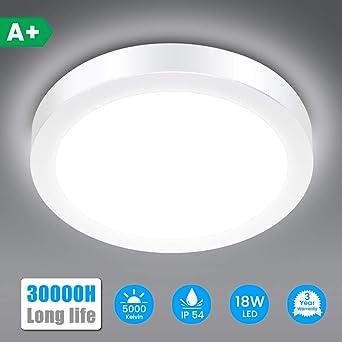 Led Ceiling Light Solmore 18w 1700lm Ip54 Bathroom Lamp 5000k Cold White 120w Equivalent Ideal For Bathroom Bedroom Kitchen Livingroom Hallway Balcony O23cm Amazon Co Uk Lighting