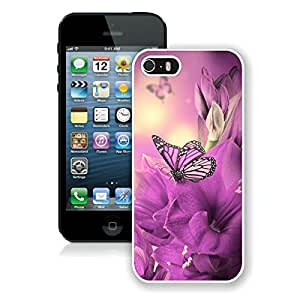 iPhone 5S Primula Purple Butterfly White Screen Phone Case Lovely and Popular Design