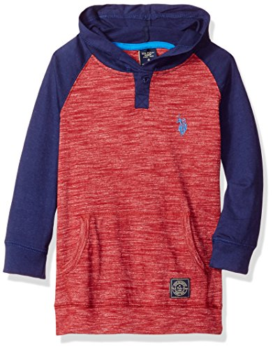 U.S. Polo Assn. Boys' Color Blocked Hooded Henley Pullover