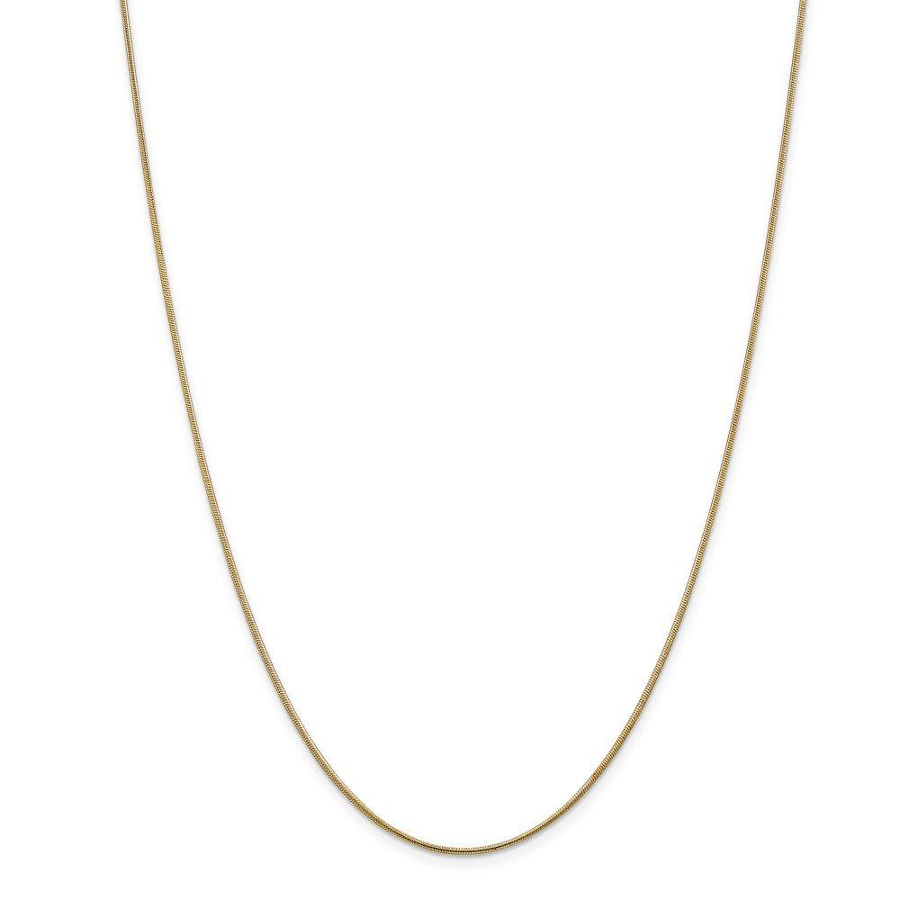 Beautiful Yellow gold 14K 14k 1.1mm Round Snake Chain JE Jewelry