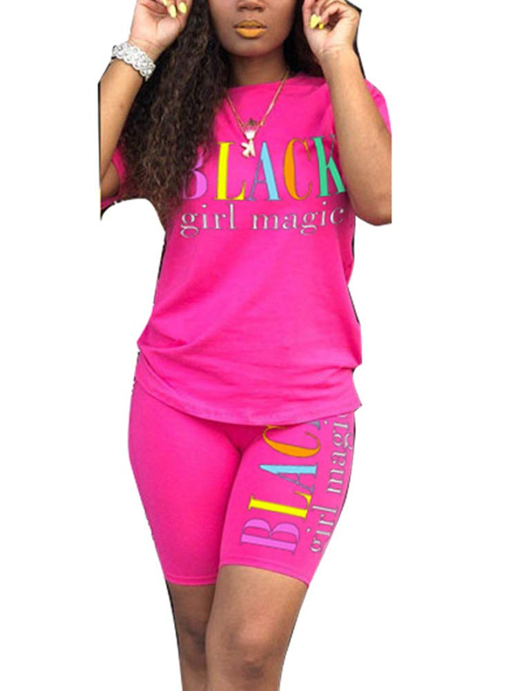 Uni Clau Women's Letter Two-Piece Outfit Tracksuit - Casual Short Sleeve T-Shirts Bodycon Shorts Set Jumpsuit Rompers Rose Red by Uni Clau